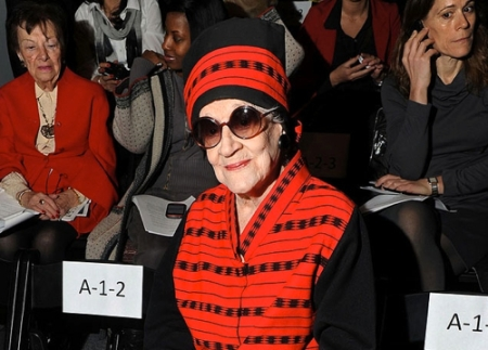 Zelda Kaplan, 95, in a photo taken moments before she collapsed at a fashion show.