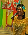 "Midwife healer Arisika Razak ""Calling in Our Bodies"" during the evening festivities hosted by the California Institute of Integral Studies and the Institute of Transpersonal Psychology: May 11, 2012"