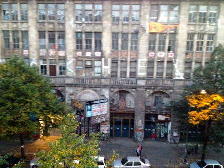 The view from my window in Berlin -- Kunsthaus Tacheles.  Originating as a department store, it became a Nazi torture center, and after the Wall fell, it transformed into an arts center. It was closed in September 2012, a month before I moved here, leaving it as a silent symbol of the power of creative transformation for the New Berlin.